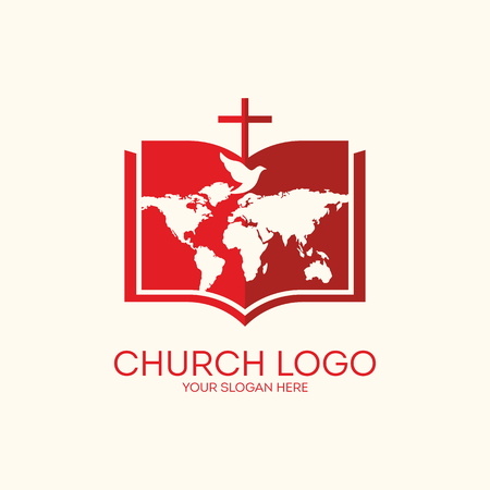 biblia: Logo Iglesia. Biblia, páginas, mapa y cruz mundo Vectores