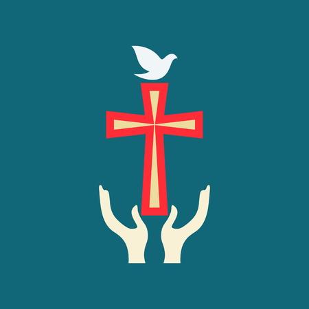 christianity: Church logo. Dove, cross, hands, christianity, symbol, icon Illustration