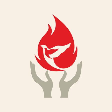 教会のロゴ。炎の鳩  イラスト・ベクター素材
