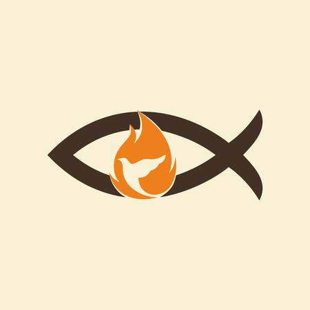 Church logo. Jesus fish, dove, flame, holy spirt, Jesus, Christian, symbol, icon Vettoriali