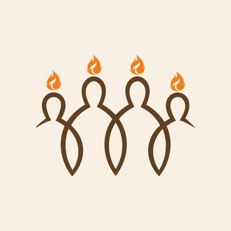 people in church: Church logo. Flames over people, Pentecost Illustration