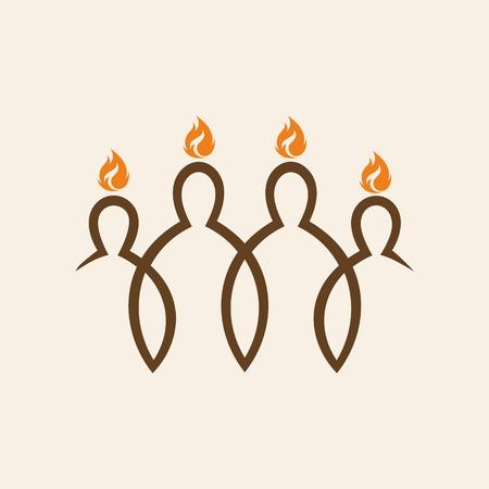 espiritu santo: logotipo de la iglesia. Llamas sobre las personas, Pentecostés Vectores