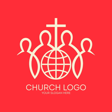 worship jesus: Church logo. Missions, christian fellowship, cross, members, globe, world, icon Illustration