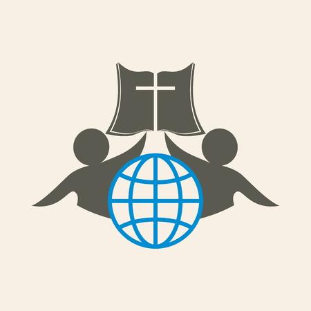 bible and cross: Church logo. Globe, people, membership, Bible, cross, icon, gray, blue