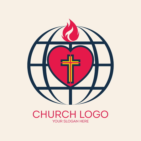 scripture: Church logo. Missions, globe, heart, cross, flame, love
