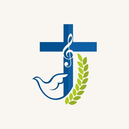 教会のロゴ。イチジク、鳩、クロス、音楽ノート、音楽、アイコン、ブルー