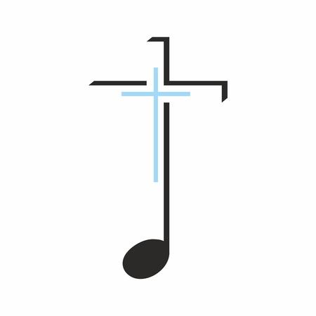 Church logo. Cross on a music note Фото со стока - 46647815