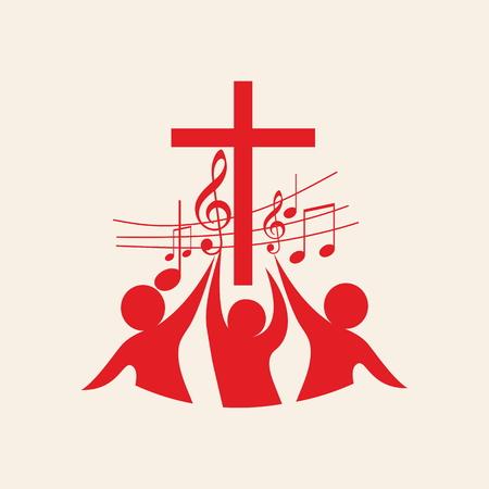 Kerk logo. Kruis, muziek, muziek nota's, lied, koor, mensen, rood
