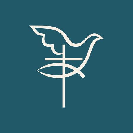 Kerk logo. Kruis, de vissen van jesus, duif, pictogram