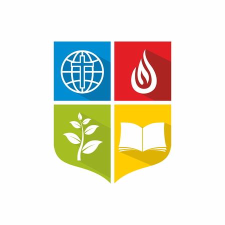 Logo Iglesia. Bloques de colores, verde, amarillo, la Biblia, el crecimiento, brote, misiones, escudo, llama, cruz, globo, rojo, azul, icono Logos