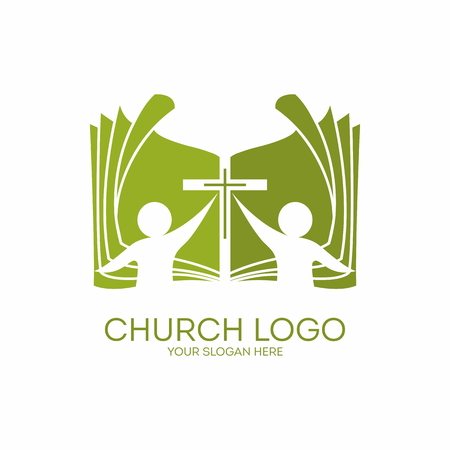 Kerk logo. Lidmaatschap, bijbel, gemeenschap, mensen, silhouetten, kruis, pictogram, symbool
