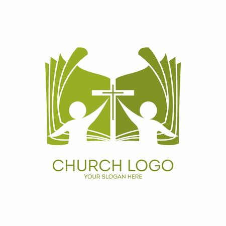 cruz religiosa: Logo Iglesia. Membresía, biblia, el compañerismo, la gente, siluetas, cruz, icono, símbolo Vectores