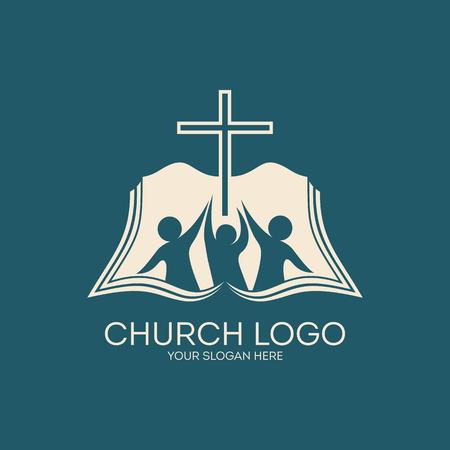 Église logo. Adhésion, bible, communion, les gens, silhouettes, croix, icône, symbole