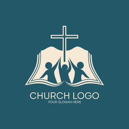 jesus on cross: Logo Iglesia. Membresía, biblia, el compañerismo, la gente, siluetas, cruz, icono, símbolo Vectores