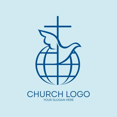 Church logo. Missions, globe, dove, cross, Christianity, icon