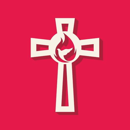 evangelism: Church logo. Cross, flame, dove, icon