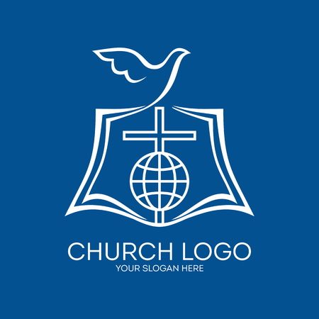 the crucifixion: Church logo. Bible, pages, cross and globe Illustration