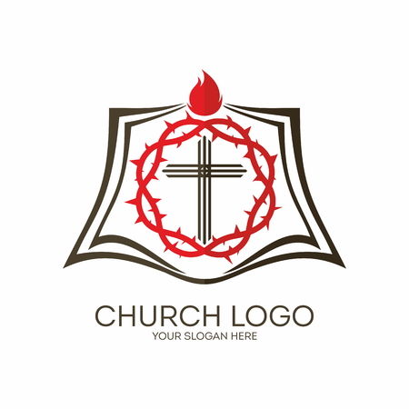 crown of thorns: Church logo. Crown of thorns, cross, shield, flame, icon, red, black Illustration