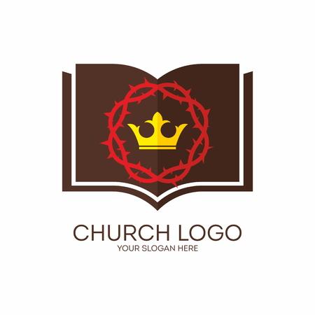 biblia: Logo Iglesia. Corona de espinas, corona, rey, Biblia, icono