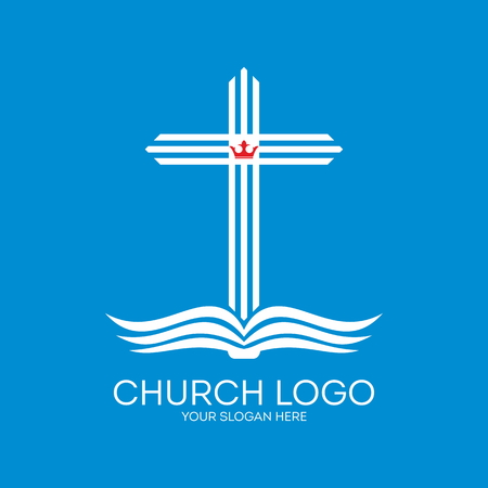 Church logo. Cross coming from the pages of a Bible