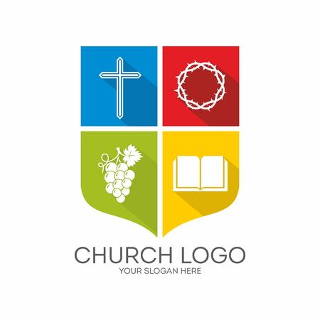 教会のロゴ。カラー ブロック、青、緑、赤、黄色、クロス、ブドウ、聖書、トゲ、盾、アイコンのクラウン