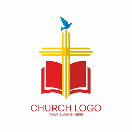 Church logo. Cross, Bible, dove, icon, red, yellow, blue