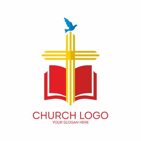 bible: Church logo. Cross, Bible, dove, icon, red, yellow, blue