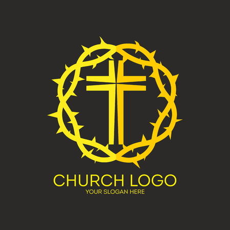 crown logo: Church logo. Yellow, crown of thorns, cross, icon