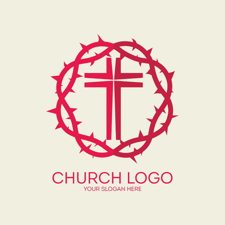crown of thorns: Church logo. Red, crown of thorns, cross, icon
