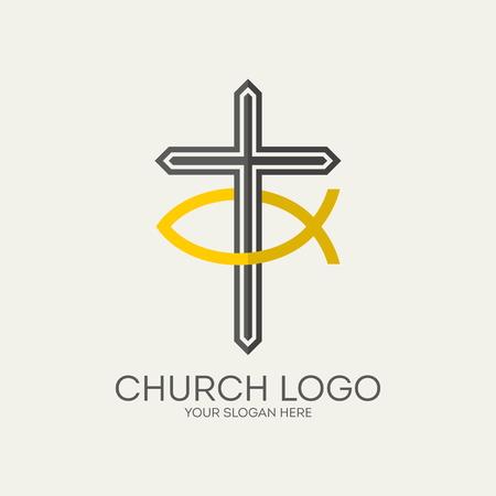 jesus fish: Church logo. Cross and Jesus fish Illustration