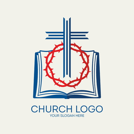 rouge et bleu: Church logo. Cross, crown of thorns, red, blue, bible, pages, icon Illustration