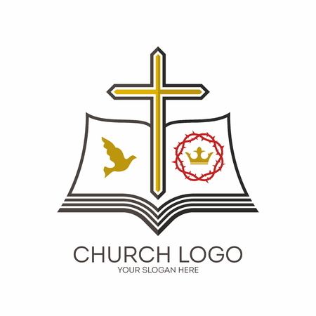 cross: Church logo. Dove, crown, crown of thorns, cross, pages, Bible