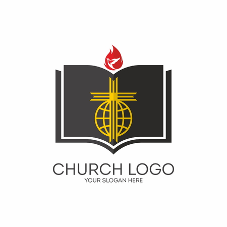 bible and cross: Church logo. Missions, Bible, cross, globe, flame, dove, icon