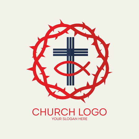 crown of thorns: Church logo. Crown of thorns, cross, Jesus fish, icon