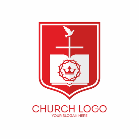 crown of thorns: Church logo. Shield, crown of thorns, crown, bible, cross, dove, red, white, pages