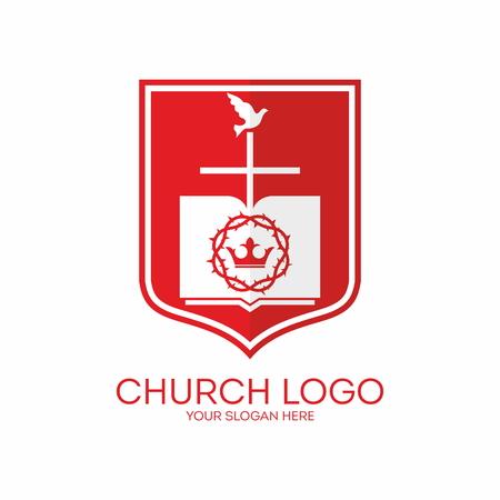 corona de espinas: Logo Iglesia. Escudo, corona de espinas, corona, biblia, cruz, paloma, rojo, blanco, páginas