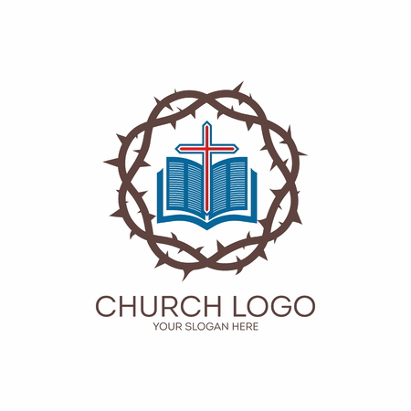 Church logo. Crown of thorns, Bible, red, icon Illustration