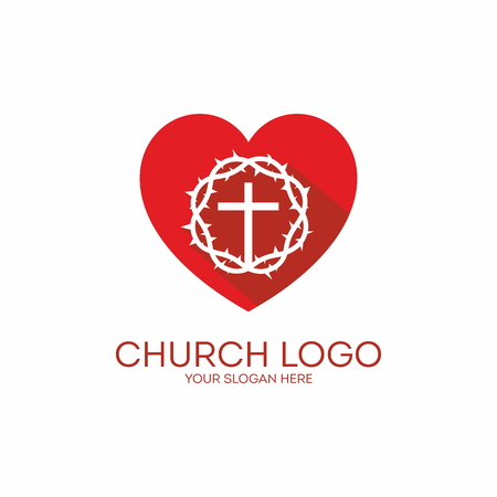 heart with crown: Church logo. Heart, crown of thorns, red, white, cross, icon, love