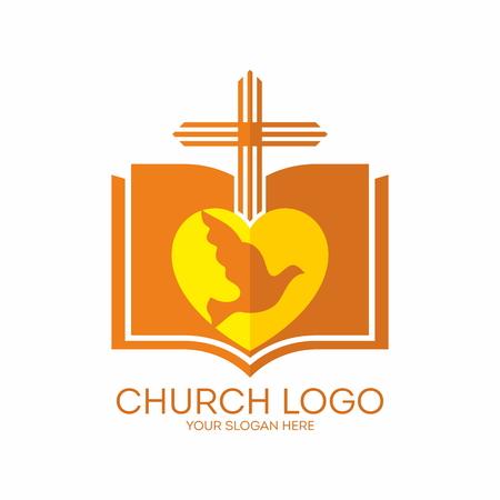bible and cross: Church logo. Bible, cross, heart, dove, icon, orange, yellow