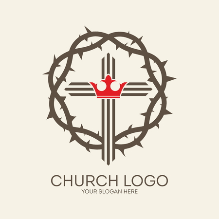 Church logo. Crown of thorns, cross, crown, gray, red, icon, Christianity, king