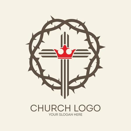 Logo Iglesia. Corona de espinas, cruz, corona, gris, rojo, icono, el cristianismo, el rey Vectores