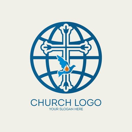 blue flame: Church logo. Missions, globe, dove, blue, cross, flame, icon