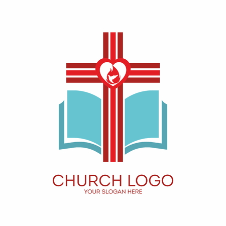 red white blue: Church logo. Cross, heart, red, white, blue, icon, pages, Bible, flame, dove