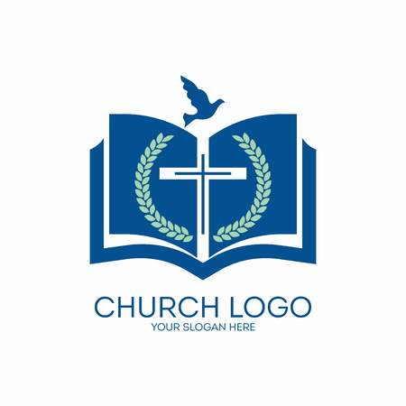 Church logo. Fig, cross, Bible ,, pages, dove, icon, blue Stock Illustratie