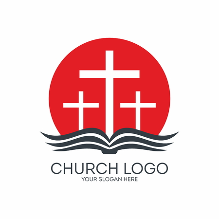 Church logo. Three crosses, cross, sunrise, pages, Bible, icon