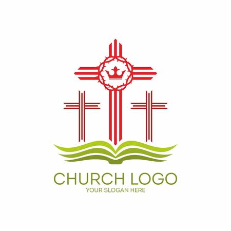 evangelism: Church logo. Three crosses on a Bible Illustration