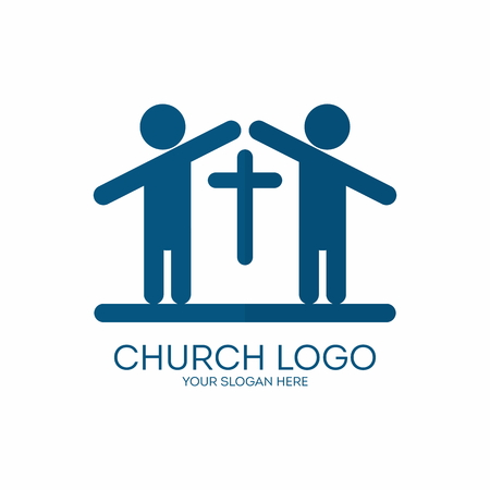 people in church: Church logo. People forming a church