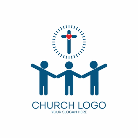 fellowship: Church logo. Holding hands, people, group, fellowship, membership, missions, cross, heart, icon Illustration