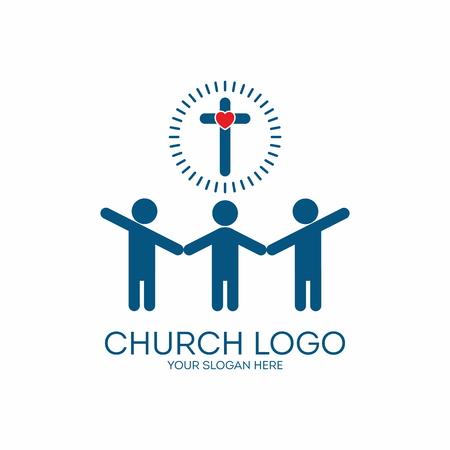 Logo Iglesia. Tomados de la mano, la gente, el grupo, el compañerismo, la pertenencia, misiones, cruz, corazón, icono Foto de archivo - 46668931