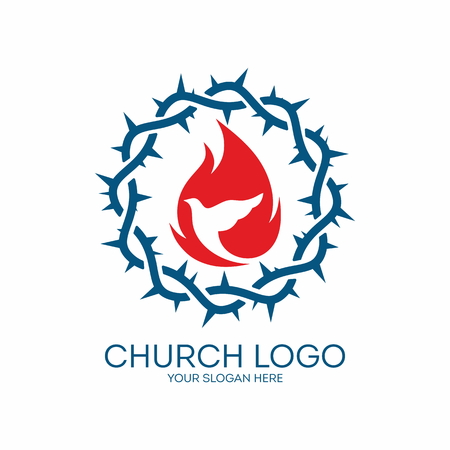 Logo Iglesia. Corona de espinas, azul, rojo, paloma, llamas, icono Foto de archivo - 46668933